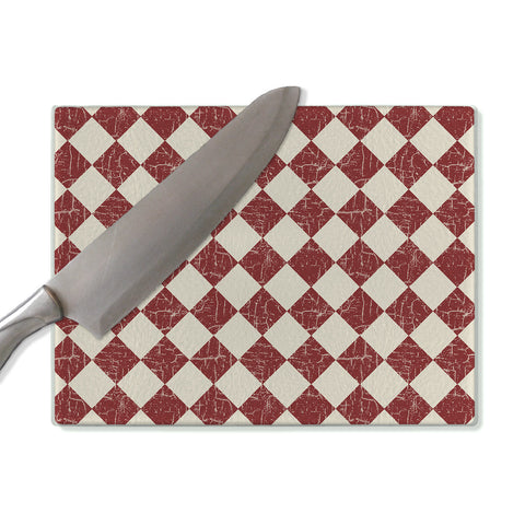 Red glass cutting board, farmhouse rustic checkerboard