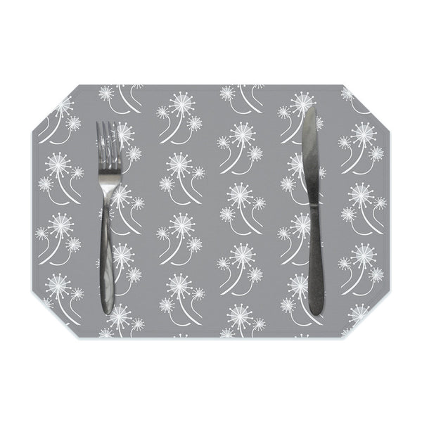 Gray floral placemat, gray and white placemats