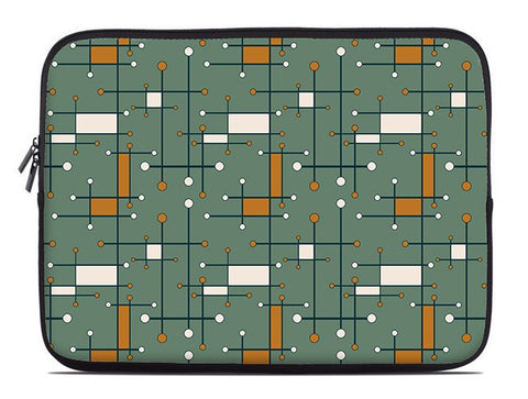 Geometric laptop sleeve, army green and orange laptop case