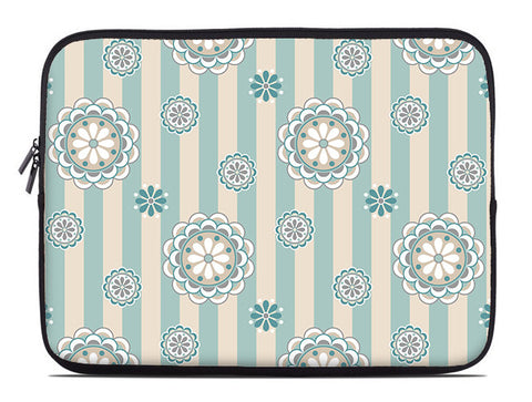 Mod floral laptop sleeve, sea foam and beige laptop case