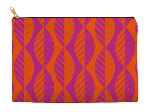 Orange and pink zipper pouch, mod leaves