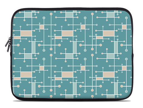Geometric laptop sleeve, sea foam and turquoise laptop case