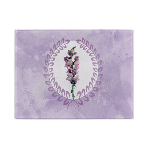 Purple Snapdragon Glass Cutting Board