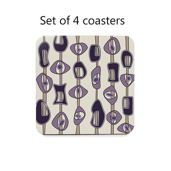 Mid Century Modern Coasters Set in violet and tan 1