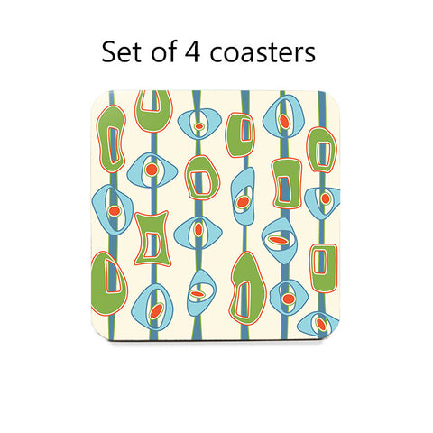 Mid Century Modern Coasters Set in lime green and blue