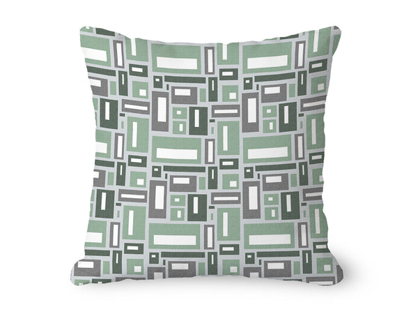 Geometric throw pillow, purple and gray rectangles