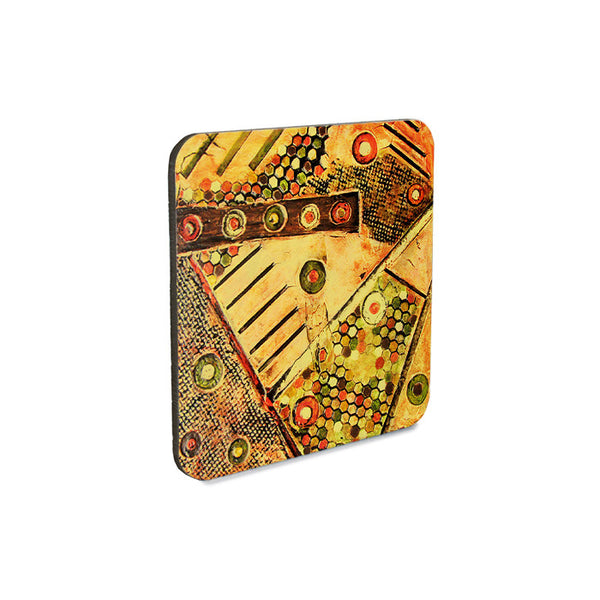 Set of 4 cork backed coasters, abstract geometric textured design