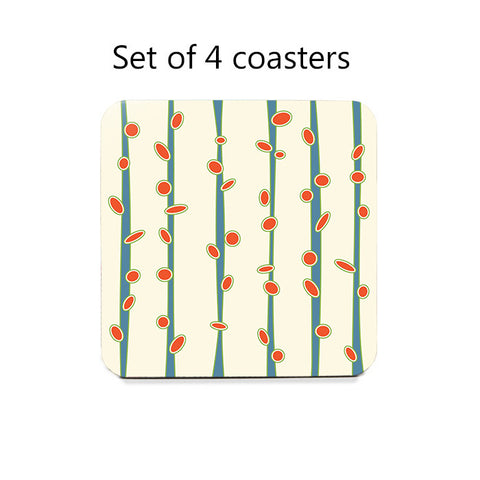 Modern Budding Stems Coasters Set 1