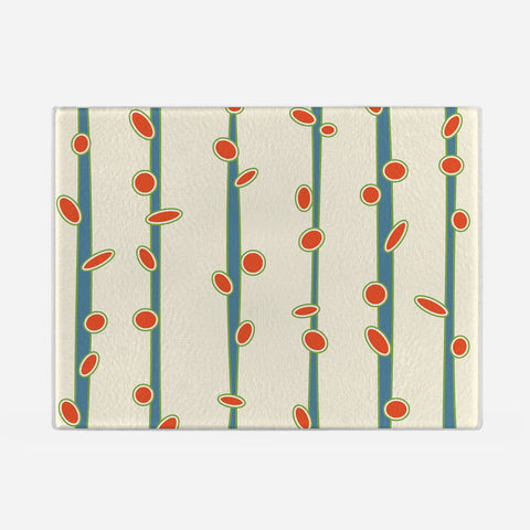 Budding Stems Glass Cutting Board
