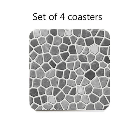 Gray Faux Mosaic Coasters Set
