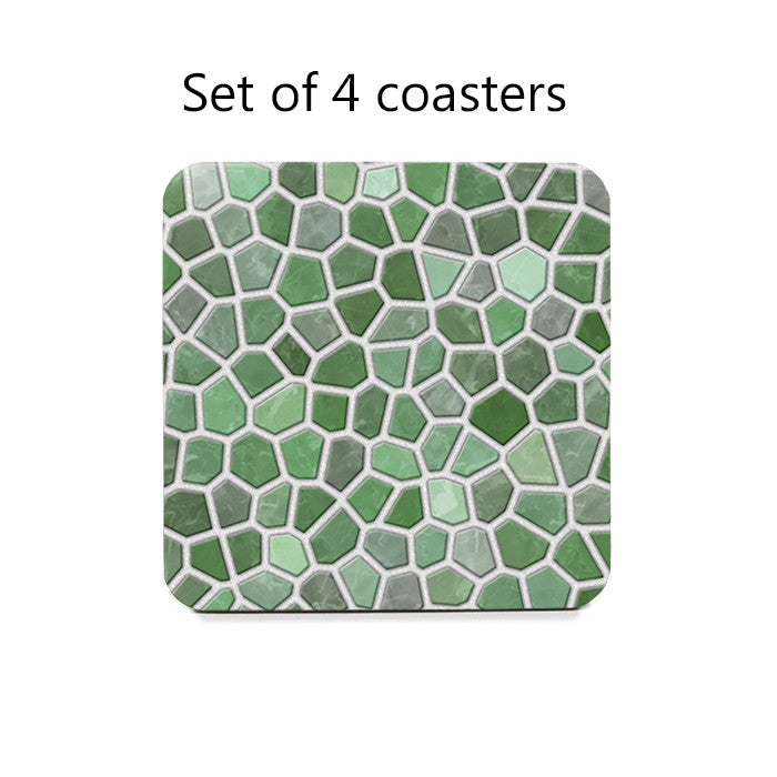 Mint Green Faux Mosaic Coasters Set