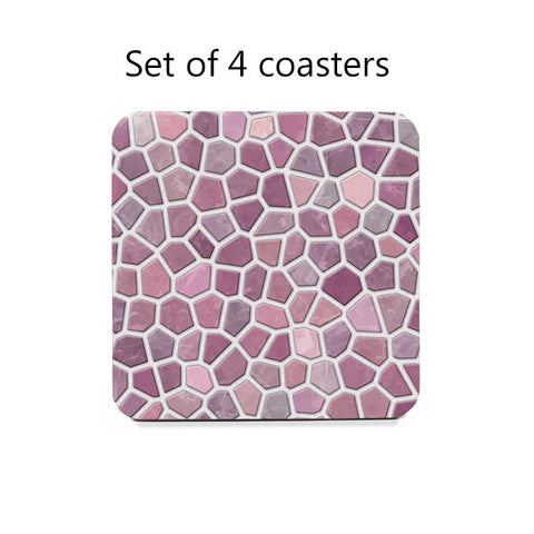 Pink and Mauve Faux Mosaic Coasters Set