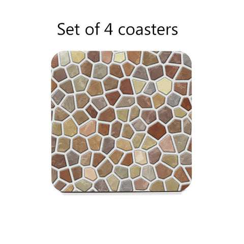 Tan Faux Mosaic Coasters Set