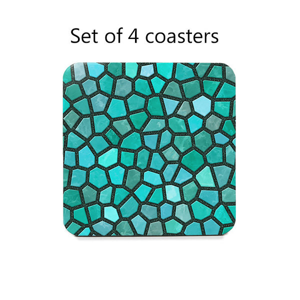 Turquoise Faux Mosaic Coasters Set darker version