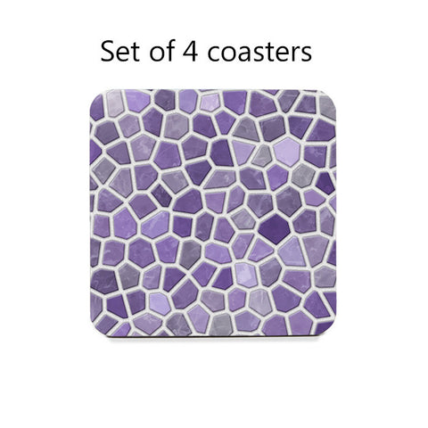 Purple and Gray Faux Mosaic Coasters Set