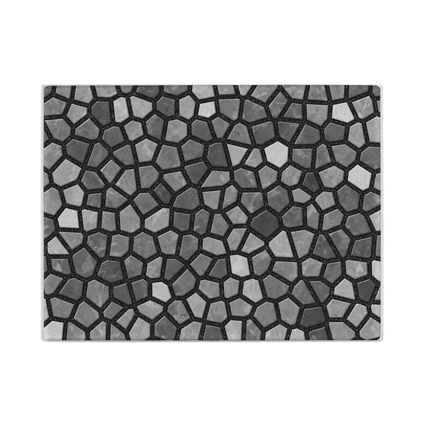Faux Mosaic Glass Cutting Board in Gray