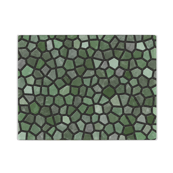 Faux Mosaic Glass Cutting Board in Green