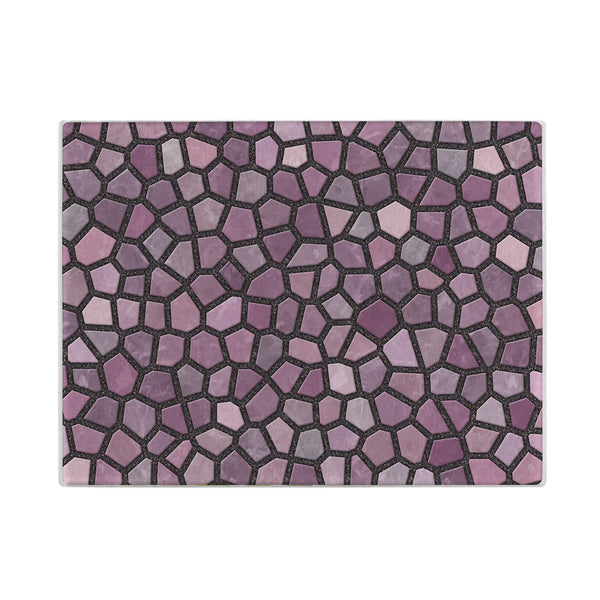 Faux Mosaic Glass Cutting Board in Mauve Pink