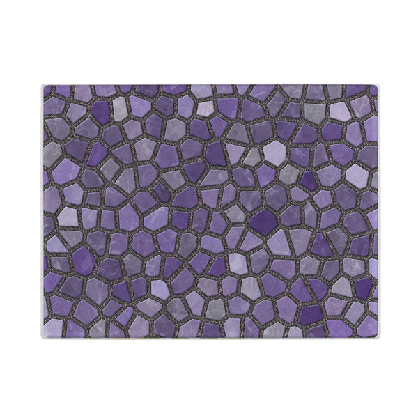 Faux Mosaic Glass Cutting Board in Purple