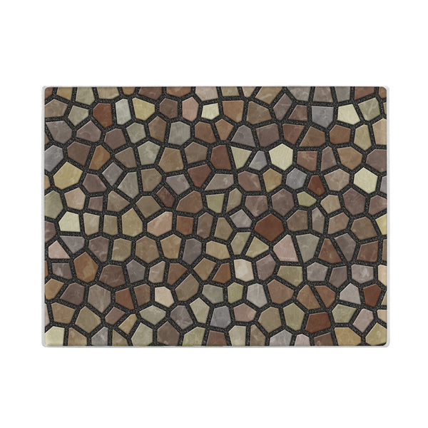 Faux Mosaic Glass Cutting Board in Brown