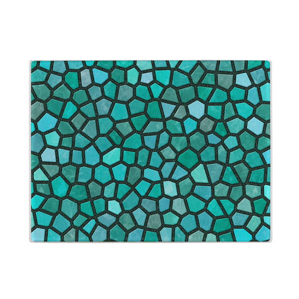 Faux Mosaic Glass Cutting Board in Turquoise