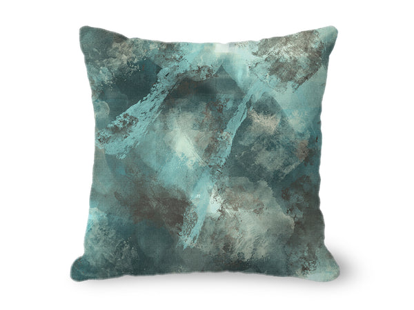 Stormy Abstract Throw Pillow in teal