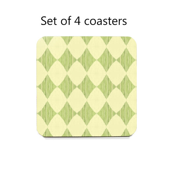 Ikat Style Diamonds Coaster Set in yellow and green