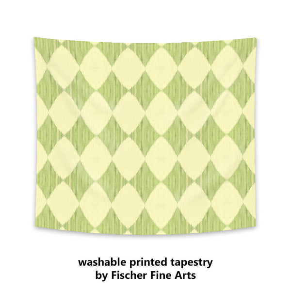 Ikat Style Wall Tapestry in yellow and green