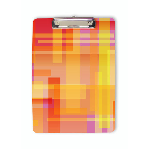 Colorful Geometric Blocks Clipboard in pink and orange