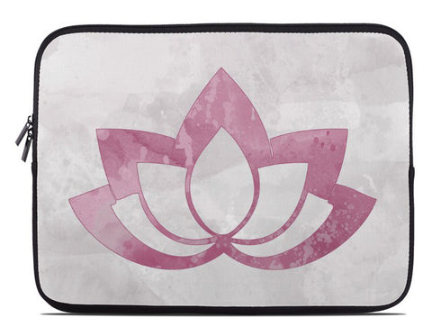 Pink Lotus Flower on Gray Laptop Cover