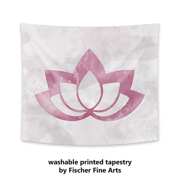 Pink Lotus Flower on Gray Wall Tapestry