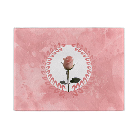 Pink Rose Glass Cutting Board