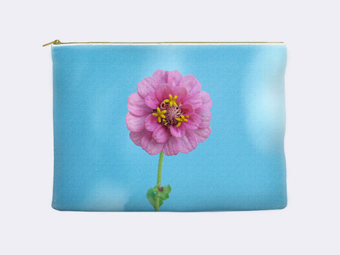 Pink Zinnia Floral Zippered Pouch