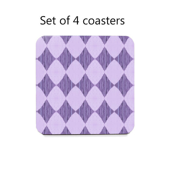 Ikat Style Diamonds Coaster Set in lilac