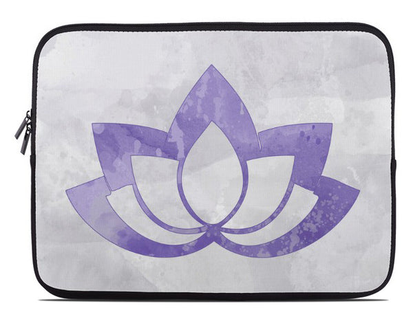 Purple Lotus Flower on Gray Laptop Cover