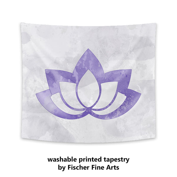 Purple Lotus Flower on Gray Wall Tapestry