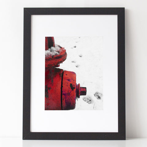 Art Print - Red Fire Hydrant with Paw Prints in the snow