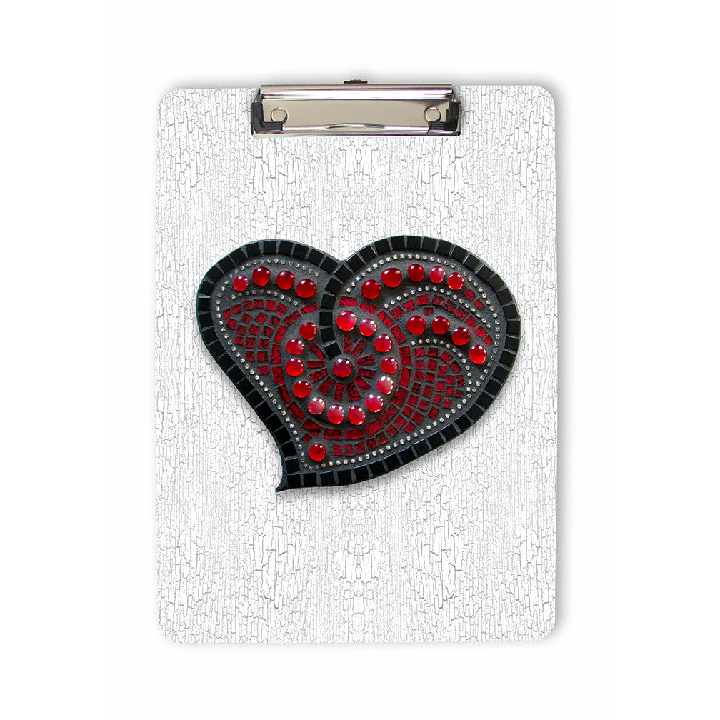 Red Mosaic Heart Printed Clipboard