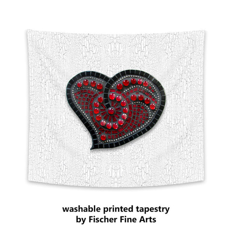 Printed Mosaic Heart Tapestry
