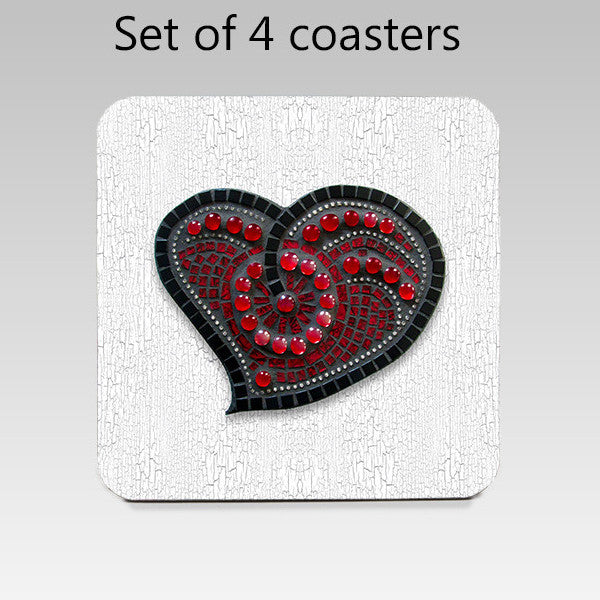 Heart Mosaic Reproduction Coaster Set