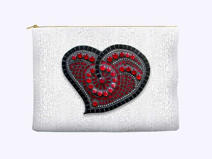 Red Mosaic Heart Zippered Cosmetic Bag