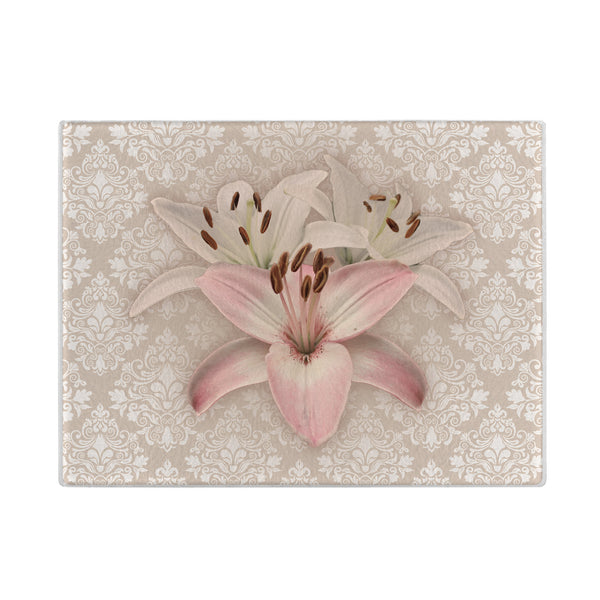 Lilies Glass Cutting Board