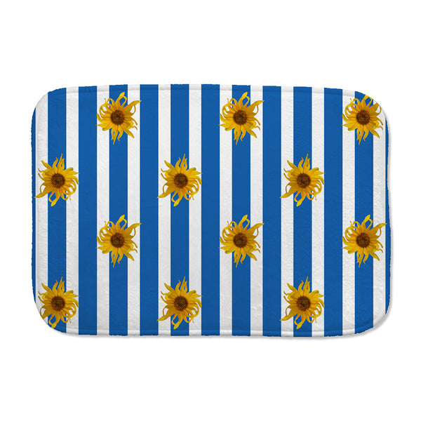 Sunflowers Bath Mat with blue and white stripes