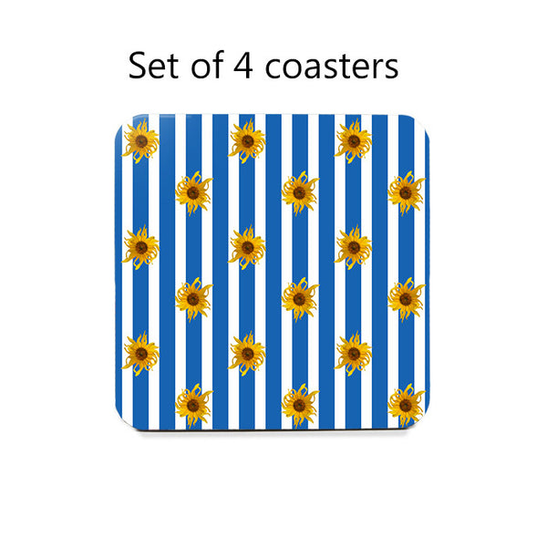 Sunflowers on Stripes Coaster Set, green or blue stripes