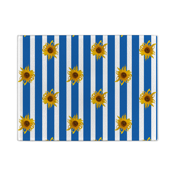 Sunflowers Glass Cutting Board with blue stripes