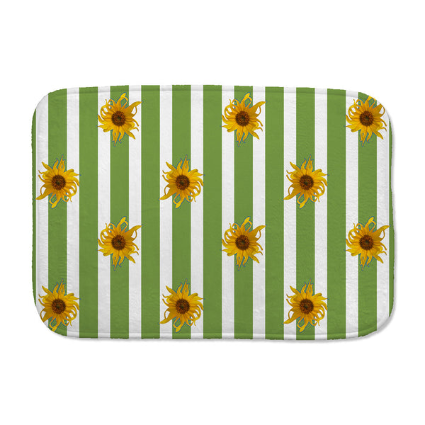 Sunflowers Bath Mat with green and white stripes
