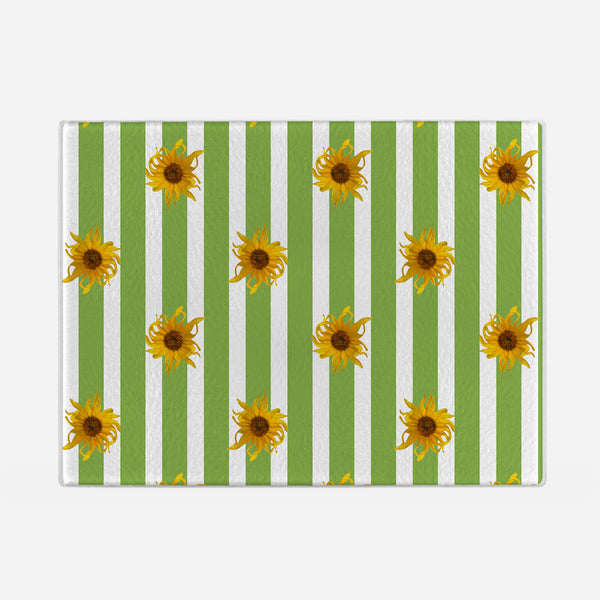 Sunflowers Glass Cutting Board with green stripes