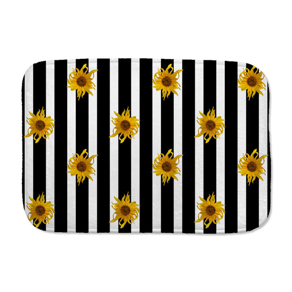 Sunflowers and Stripes Bath Mat in black and white
