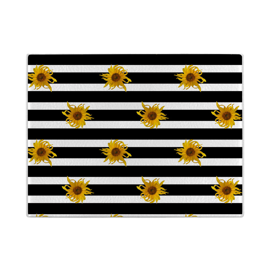 Sunflowers Glass Cutting Board with black and white stripes