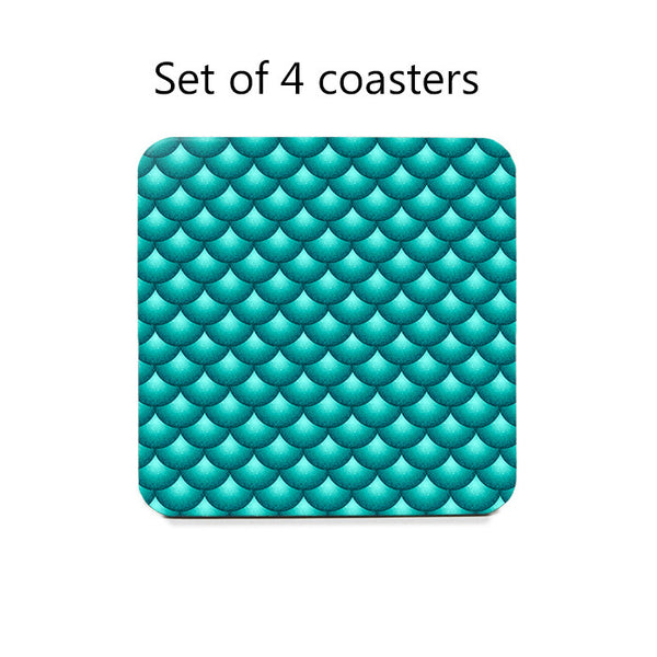 Scallops Coaster Set in teal